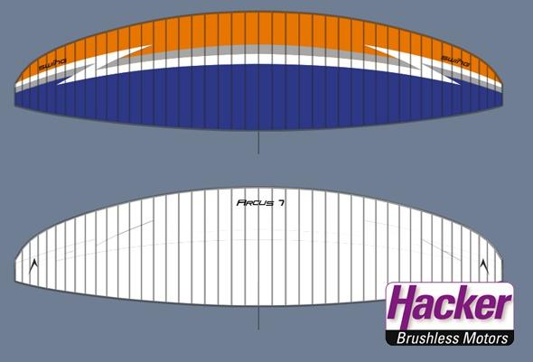 Das Design des RC-Arcus. Gelungene Farbkombination. Diese Variante gibt es auch beim echten Arcus.