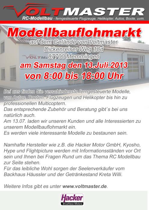 Modellbauflohmarkt am 13 Juli bei VOLTMASTER