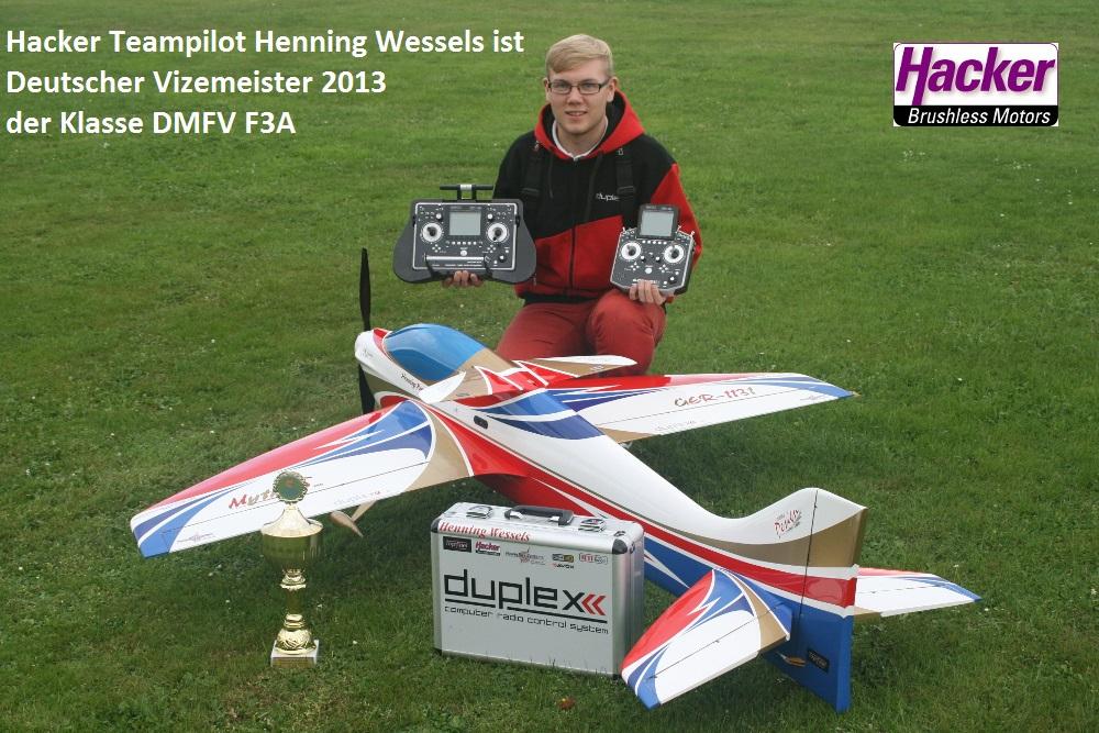 Hacker Teampilot Henning Wessels ist Deutscher Vizemeister 2013 der Klasse DMFV F3A