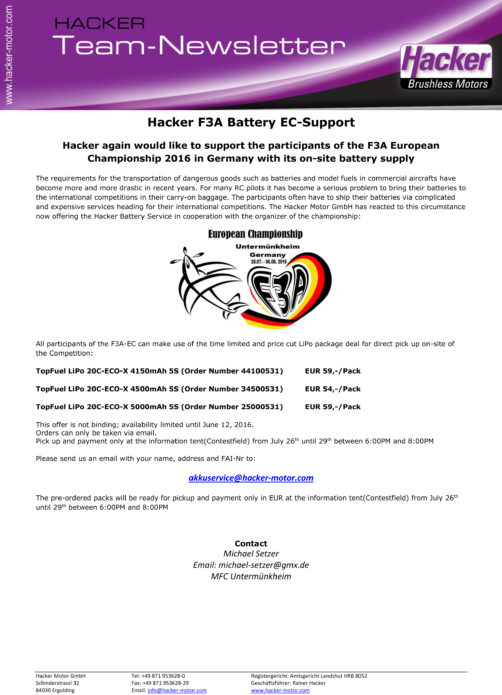 Battery-Support Hacker TopFuel European Championship 2016